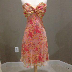 New Shoshanna strapless fit flare silk dress